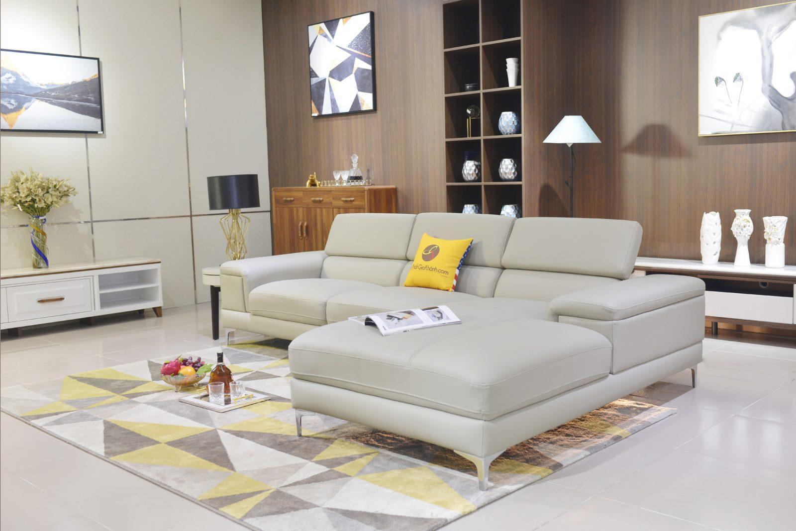 Ghế Sofa Da Góc Trái Đẹp Hiện Đại Màu Vàng 2 Băng 1060Sf2Gt
