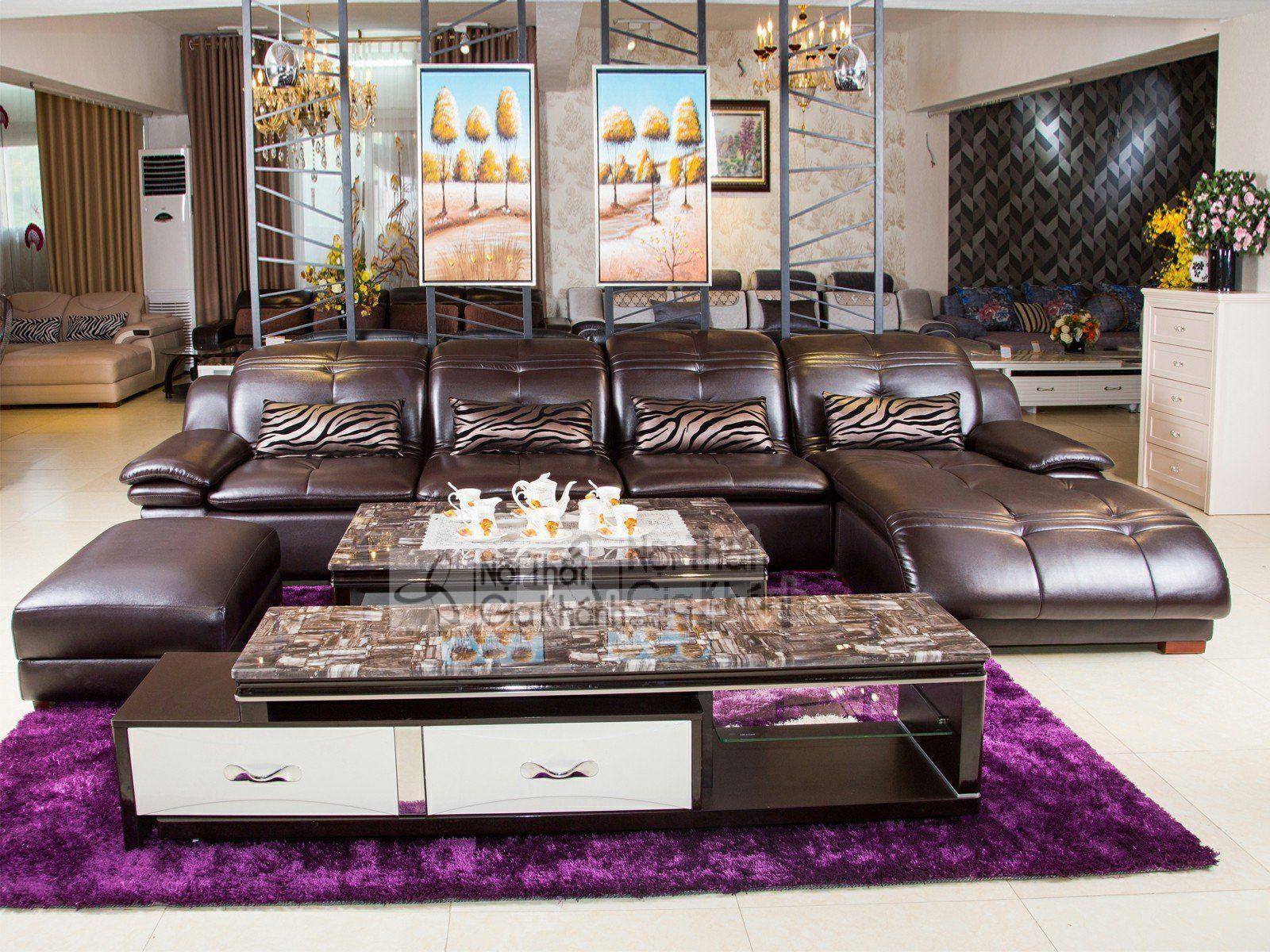 Sofa da bò 3 băng hiện đại cao cấp