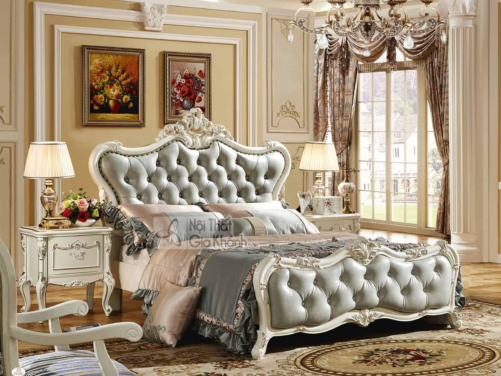 Giường ngủ (1m5x2m) màu trắng French White H8822AS