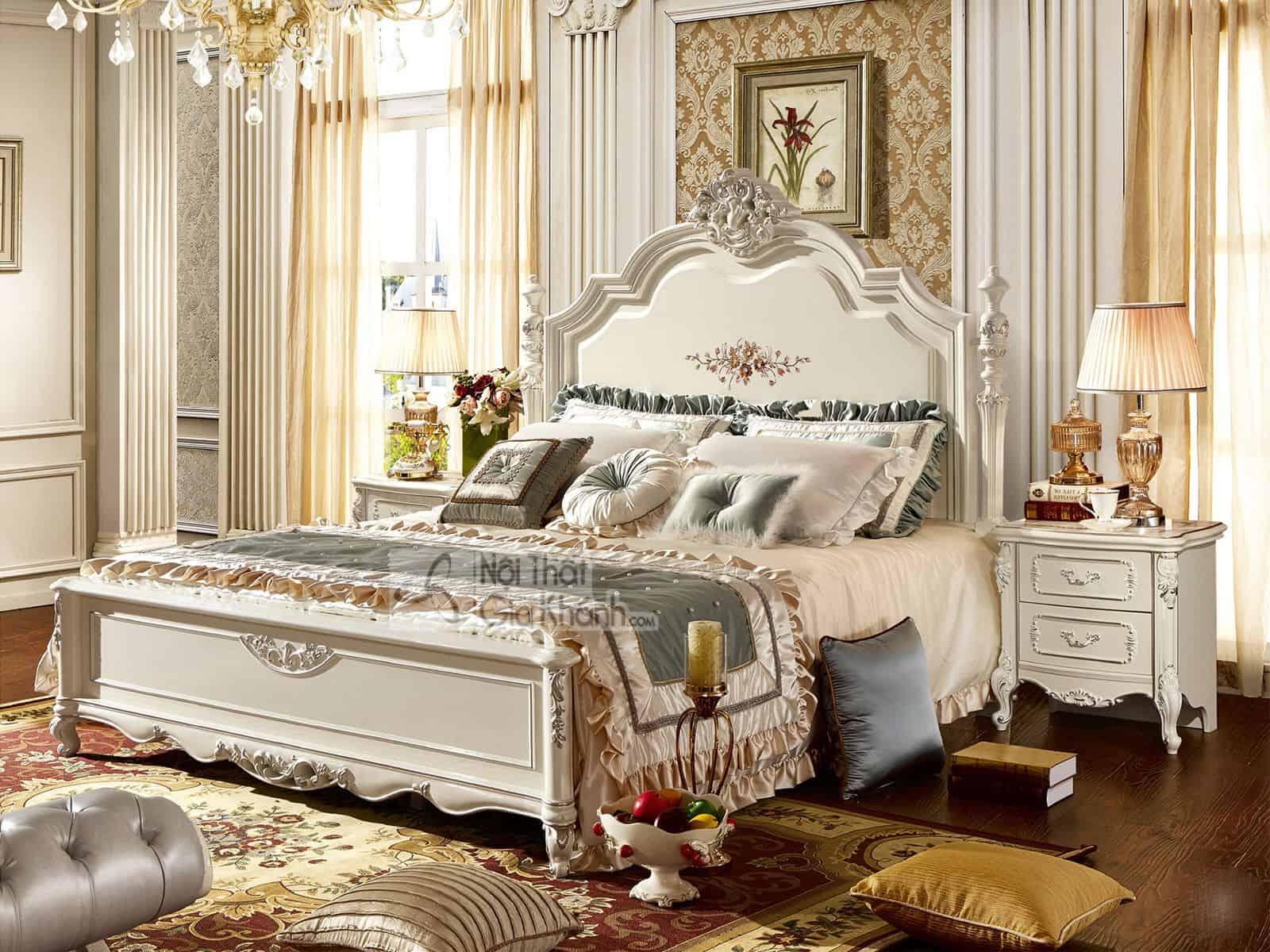 Giường Ngủ (1M8X2M) Màu Trắng French White H8833Al