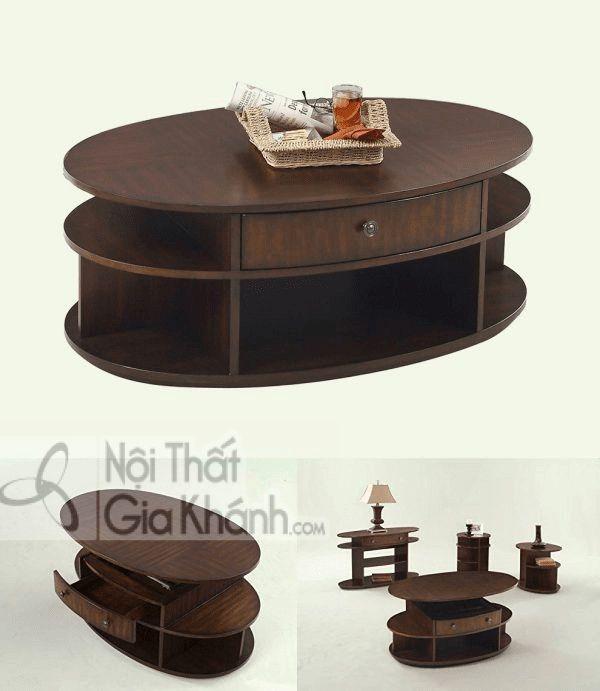 Bàn Cafe Sofa Bằng Gỗ Anh Đào Phủ Veneer Hình Oval Có Bánh Xe Ẩn