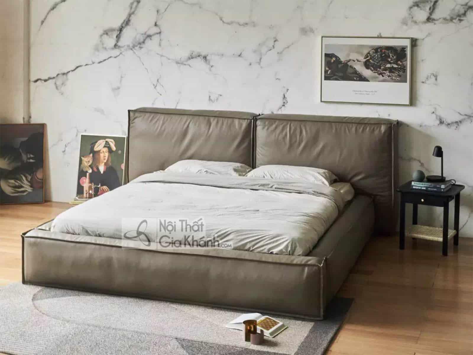 Giường Ngủ Bọc Da Thật Nhập Khẩu Gib904T
