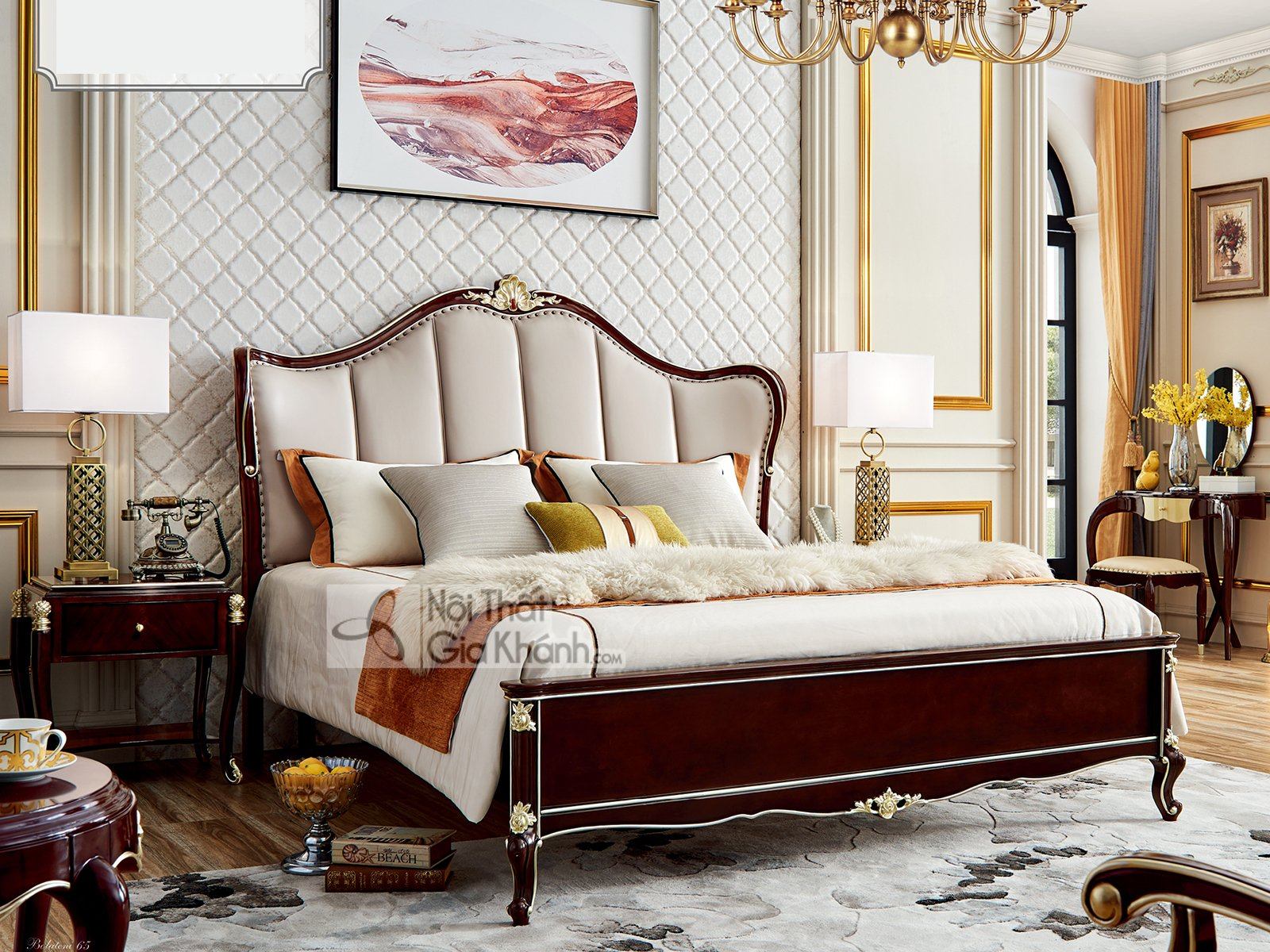 Giường ngủ tân cổ điển đơn giản sang trọng GI301-18