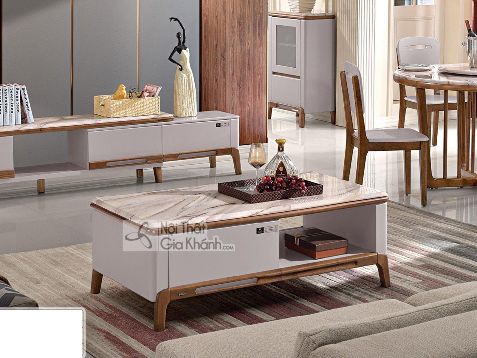 Bàn trà gỗ mặt đá đẹp cho phòng khách BT313D-13