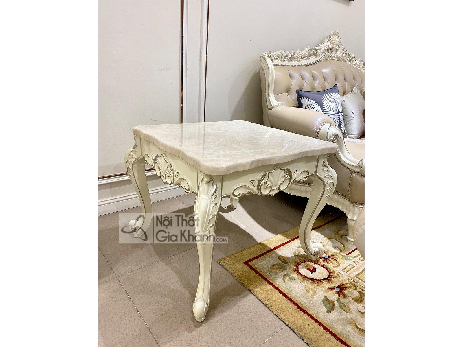 ban tra goc mat da trang phong khach h8801btv 2 - Bàn trà góc mặt đá trắng phòng khách H8801BTV-2