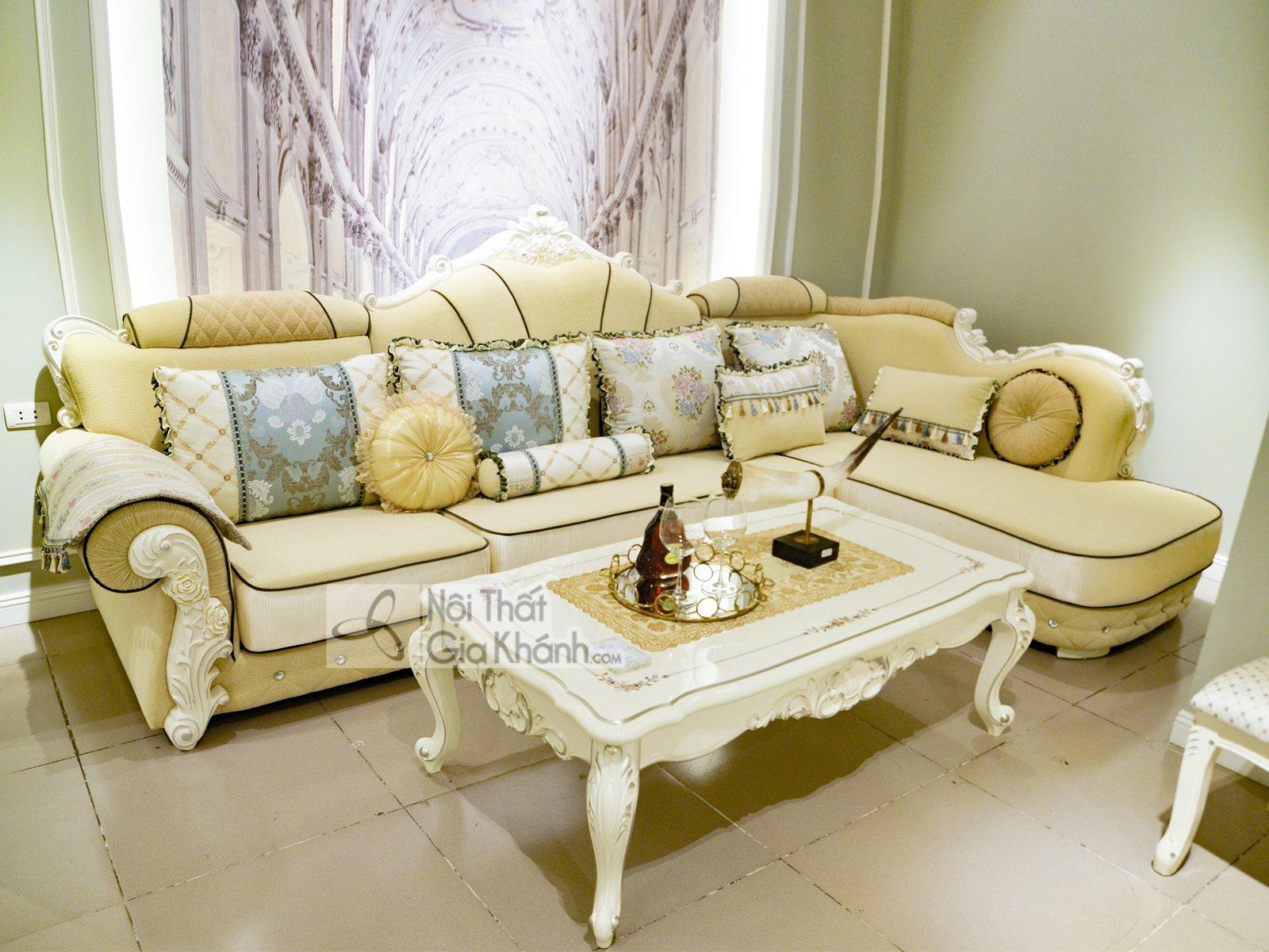Bộ Sofa Góc Trái Vải Cao Cấp Tân Cổ Điển A58-Gt