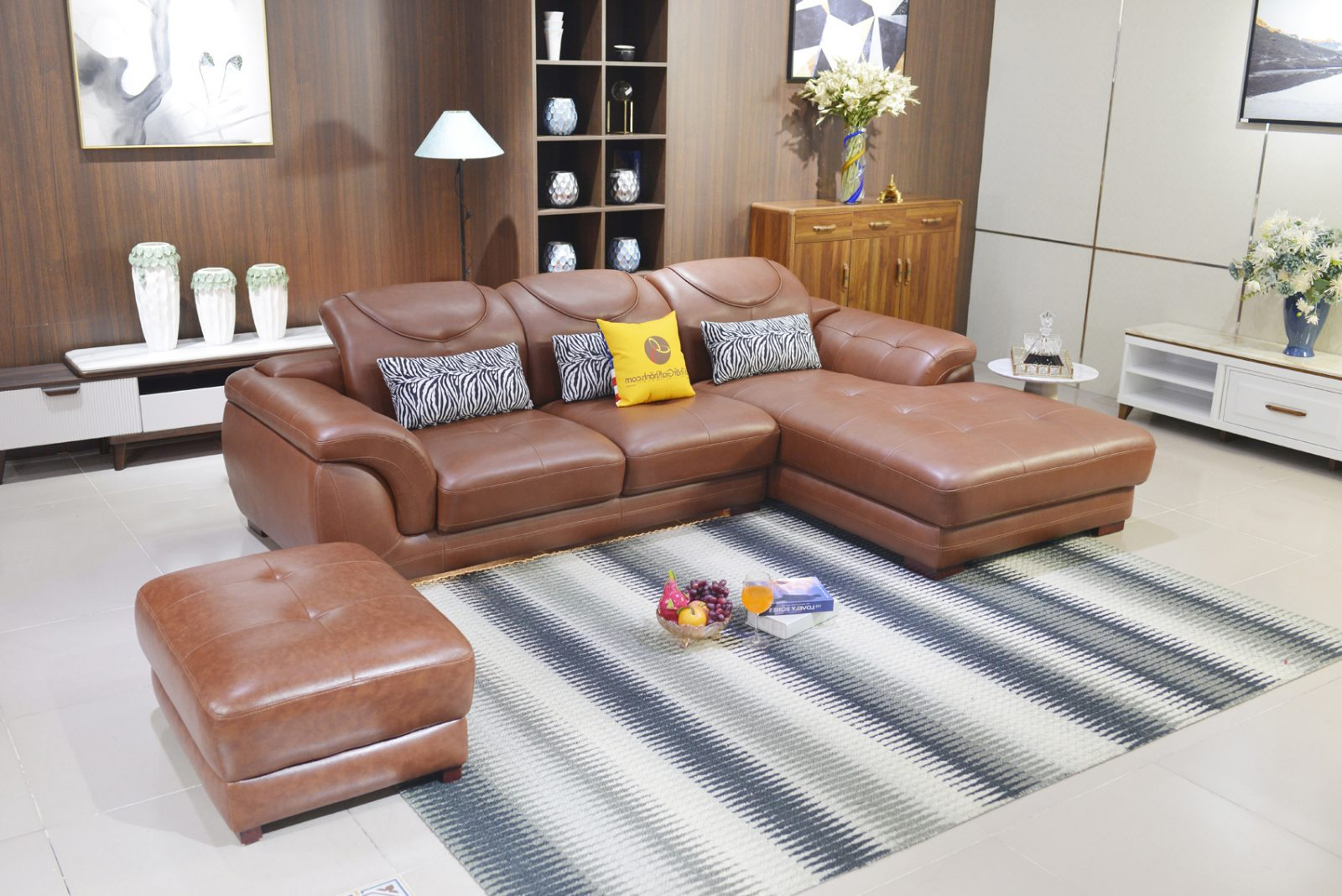 Sofa Da Góc Trái Màu Nâu Da Bò 9191B-Gt-N2096
