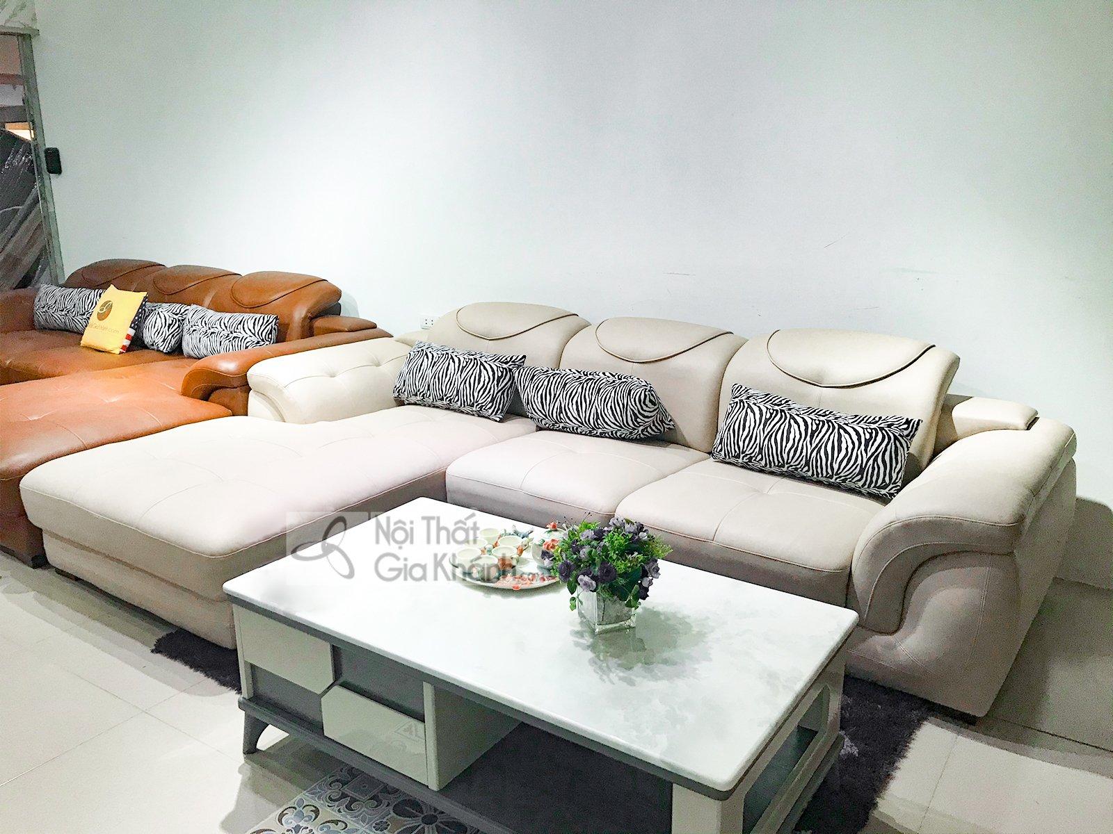 Sofa Da Màu Kem 2 Băng Góc Trái 9192Gtk