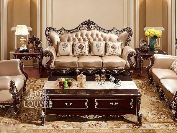 Sofa gỗ gõ đỏ tân cổ điển