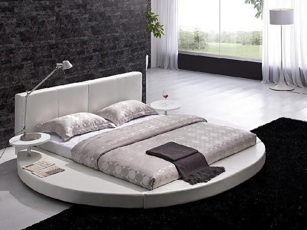 Giường Ngủ Gỗ Tròn Màu Trắng