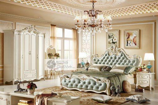 Giường Ngủ Màu Trắng Ngọc Trai Gi8801H Phong Cách Hoàng Gia
