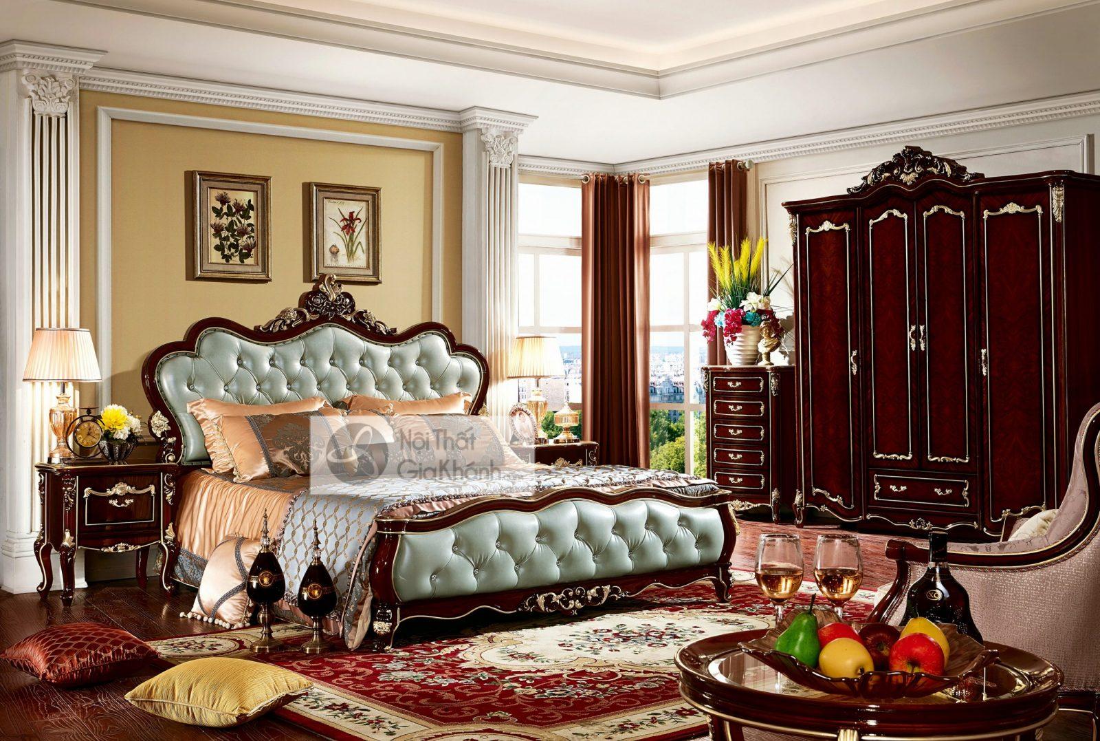 Giường Ngủ Tân Cổ Điển Màu Rượu Vang Nho Gi8823G Phong Cách Quý Tộc