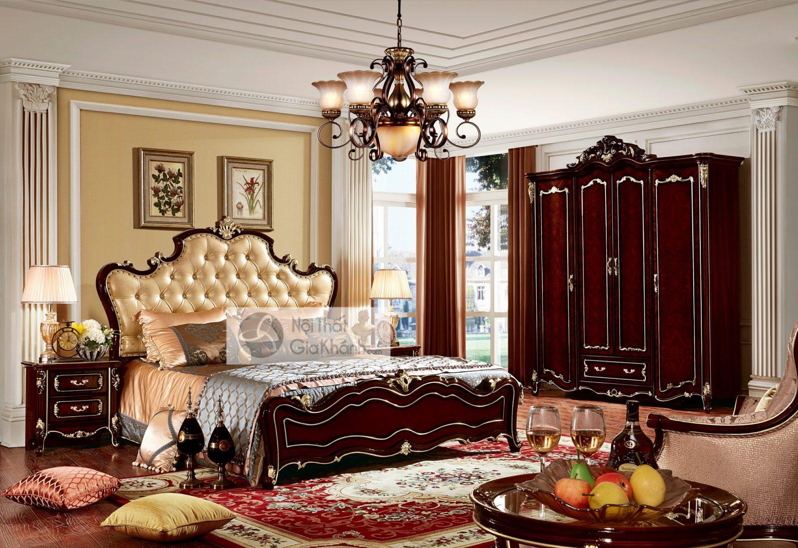 Giường Ngủ Tân Cổ Điển Màu Rượu Vang Nho Gi8830G Phong Cách Quý Tộc