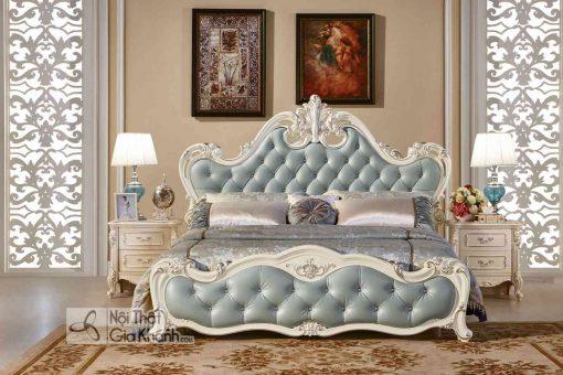 Giường Ngủ Tân Cổ Điển Màu Trắng Ngọc Trai Gi8801H Phong Cách Hoàng Gia