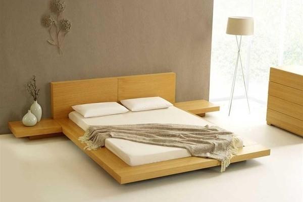 Giường thấp sàn màu nhẹ nhàng