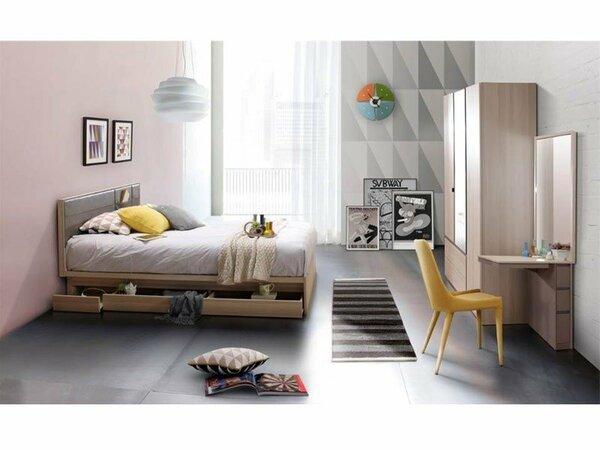 Giường thấp sàn cùng đồ nội thất đa năng