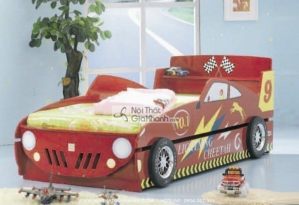 Giường 2 tầng gỗ đẹp ô tô đỏ