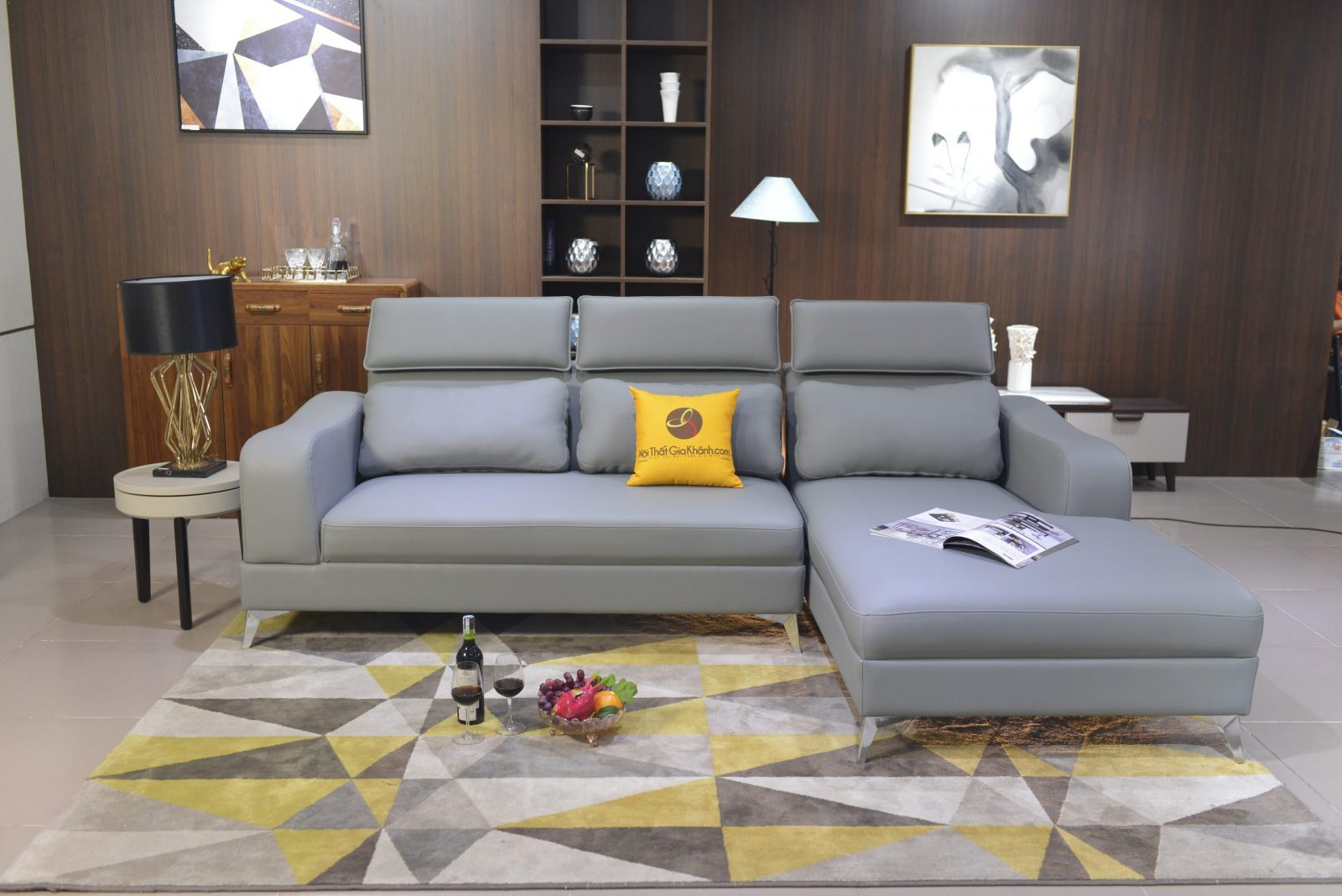 Sofa Da 2 Băng Góc Trái Cho Phòng Khách St0820-2-G1