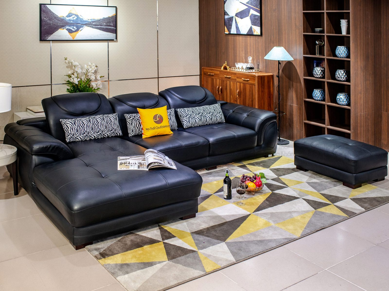 Sofa Da Màu Đen 2 Băng Góc Trái 9192B-Gp C1052