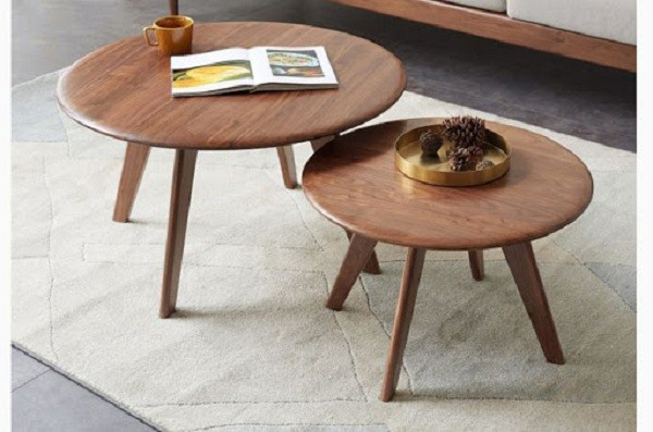 Bàn sofa gỗ óc chó hình tròn, oval, elip