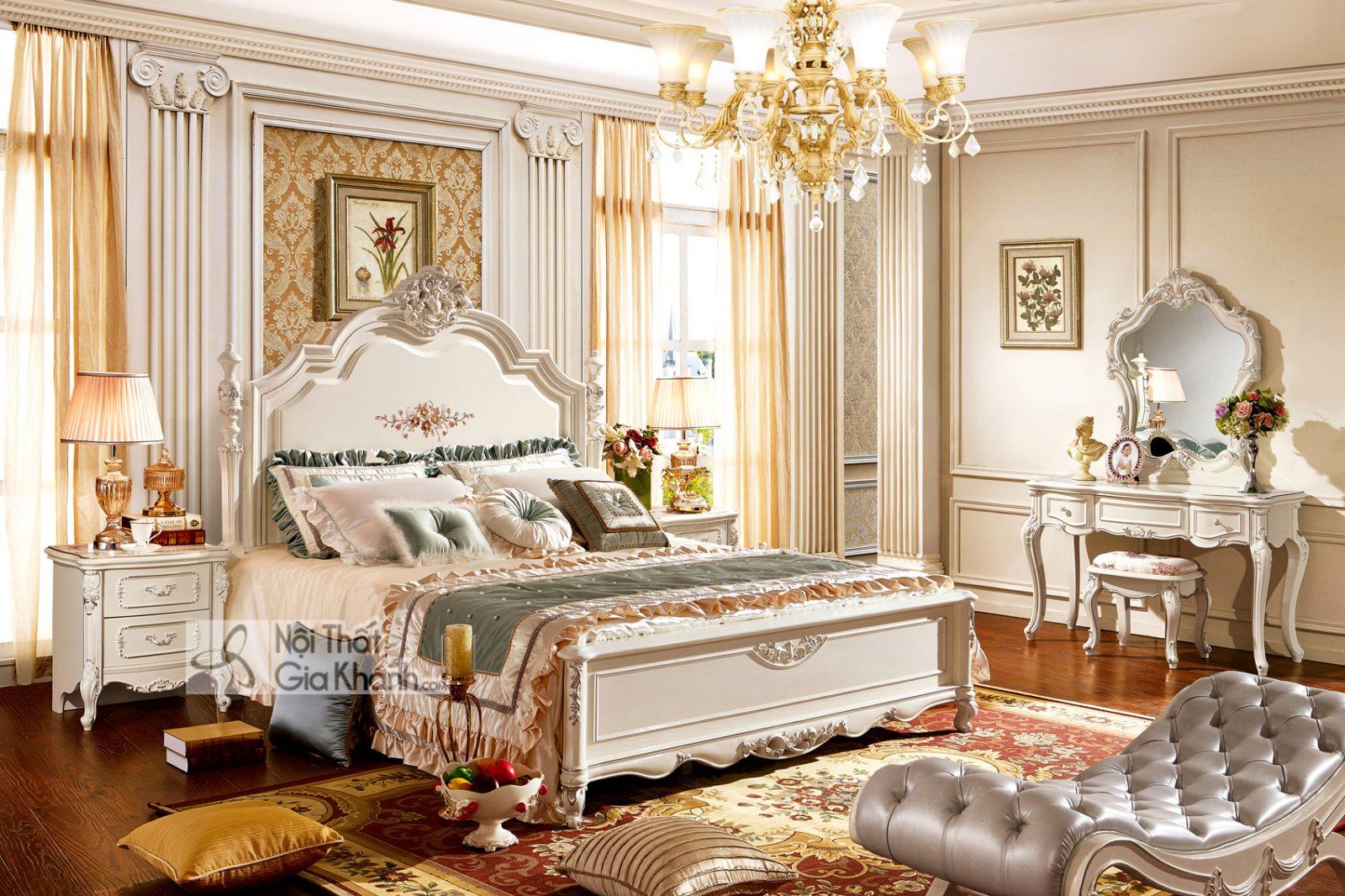 Giường Ngủ Tân Cổ Điển Màu Trắng Ngọc Trai Gi8833H Sang Trọng Nhập Khẩu