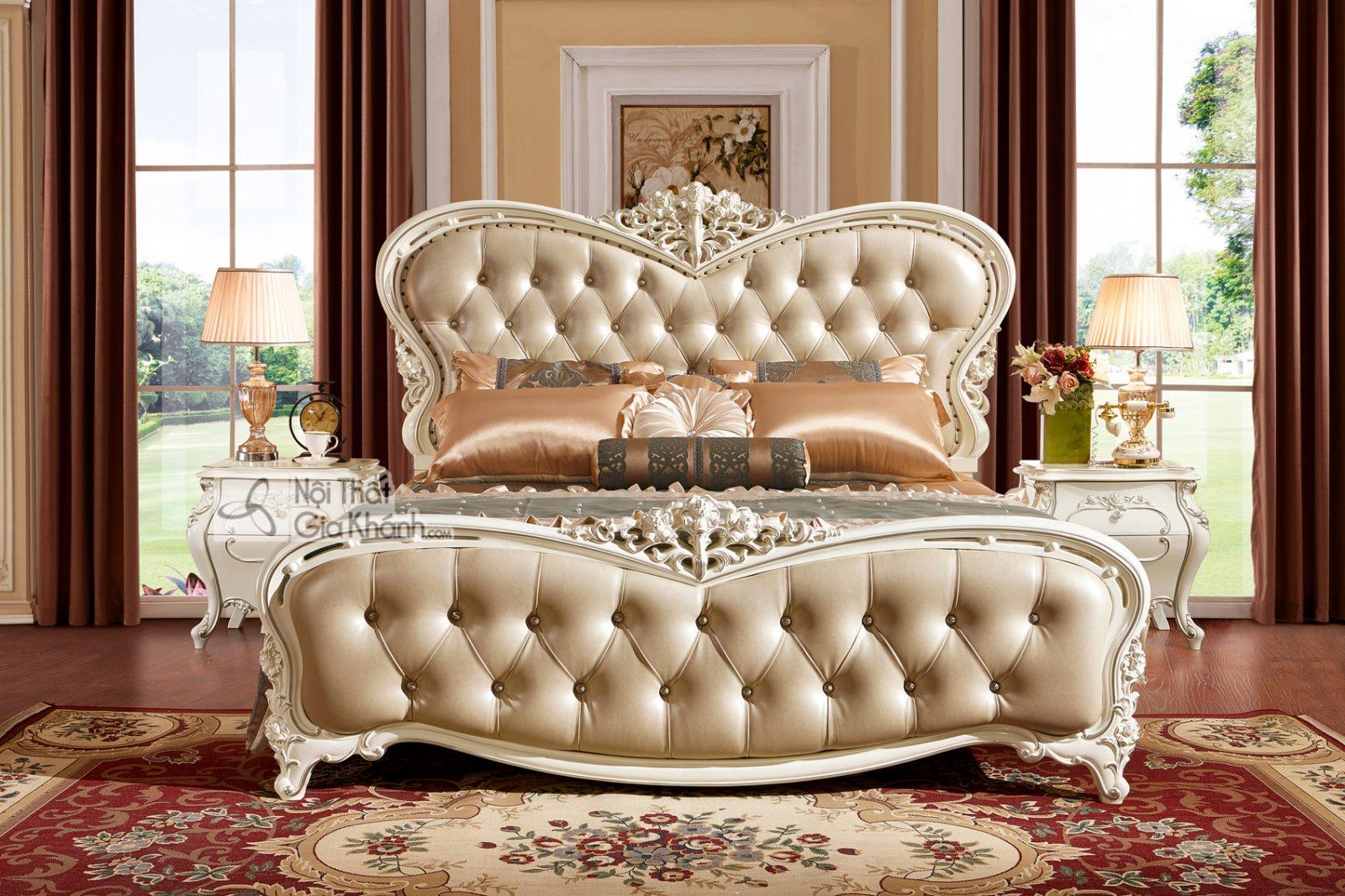 Giường Ngủ Tân Cổ Điển Màu Trắng Ngọc Trai Phong Cách Hoàng Gia Gi8836H