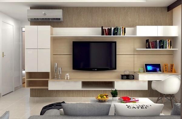 Bài trí kệ tivi kết hợp bàn làm việc phòng khách