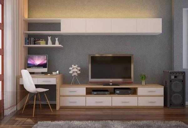 kệ tivi kết hợp bàn làm việc thiết kế
