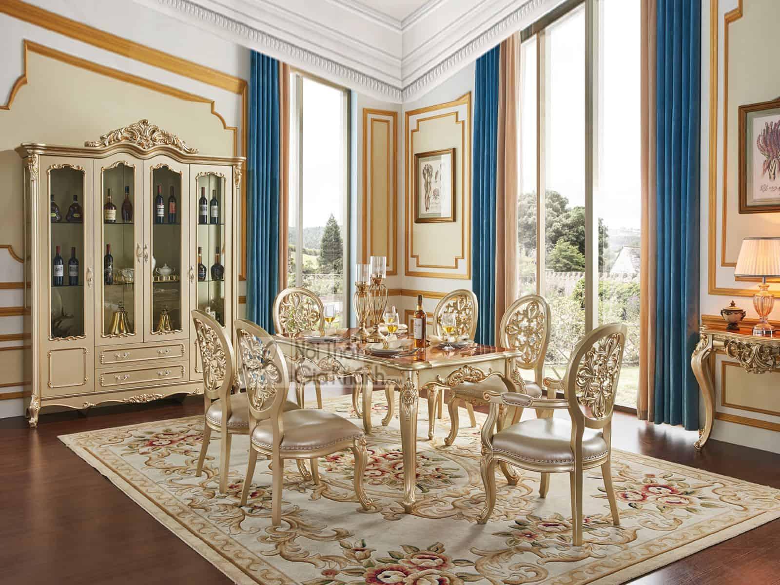 Bàn ăn mặt gỗ Tân cổ điển màu vàng rượu Sampanh BA8801AG-14 đậm chất hoàng gia