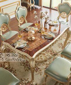 Bàn ăn mặt gỗ Tân cổ điển màu vàng rượu Sampanh BA8811AG-16 tinh tế tiện nghi