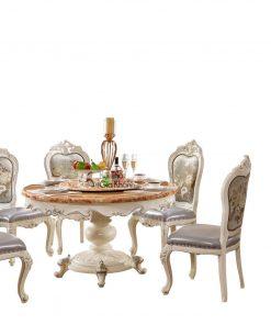 Bàn ăn tròn 1m32 mặt đá hồng ngọc long nhân tạo Tân cổ điển màu trắng ngọc trai BA8806HD-13 phong cách Hoàng Gia