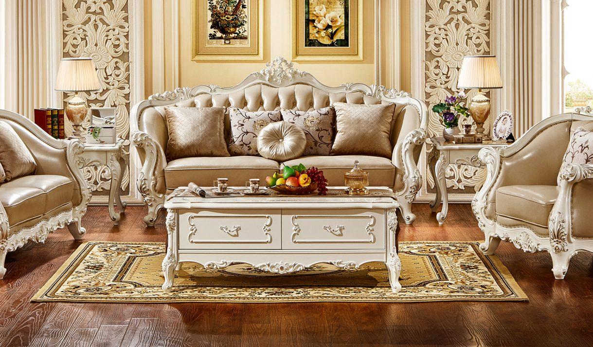 Bàn trà mặt gỗ Tân cổ điển màu trắng ngọc trai BT8801HG-14