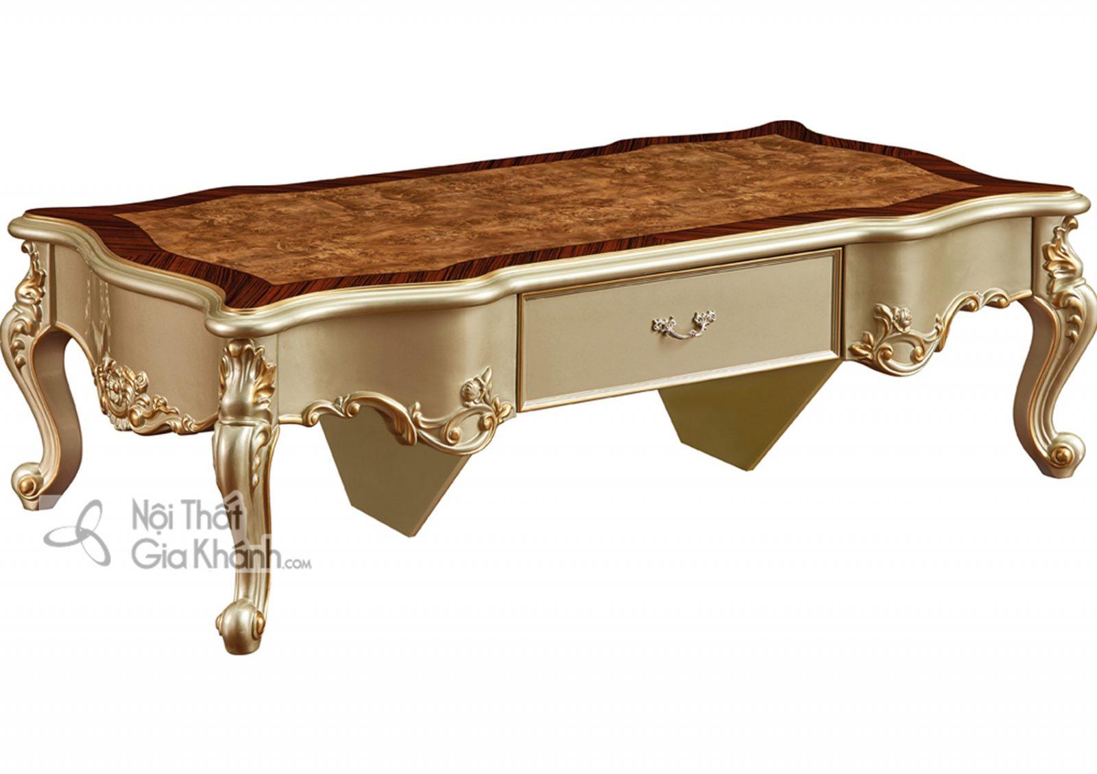 Bàn trà mặt gỗ Tân cổ điển màu vàng rượu Sampanh BT8802A châu âu
