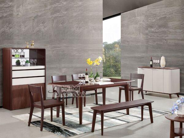 Bộ bàn ghế ăn và tủ đựng đồ ăn bằng gỗ hiện đại