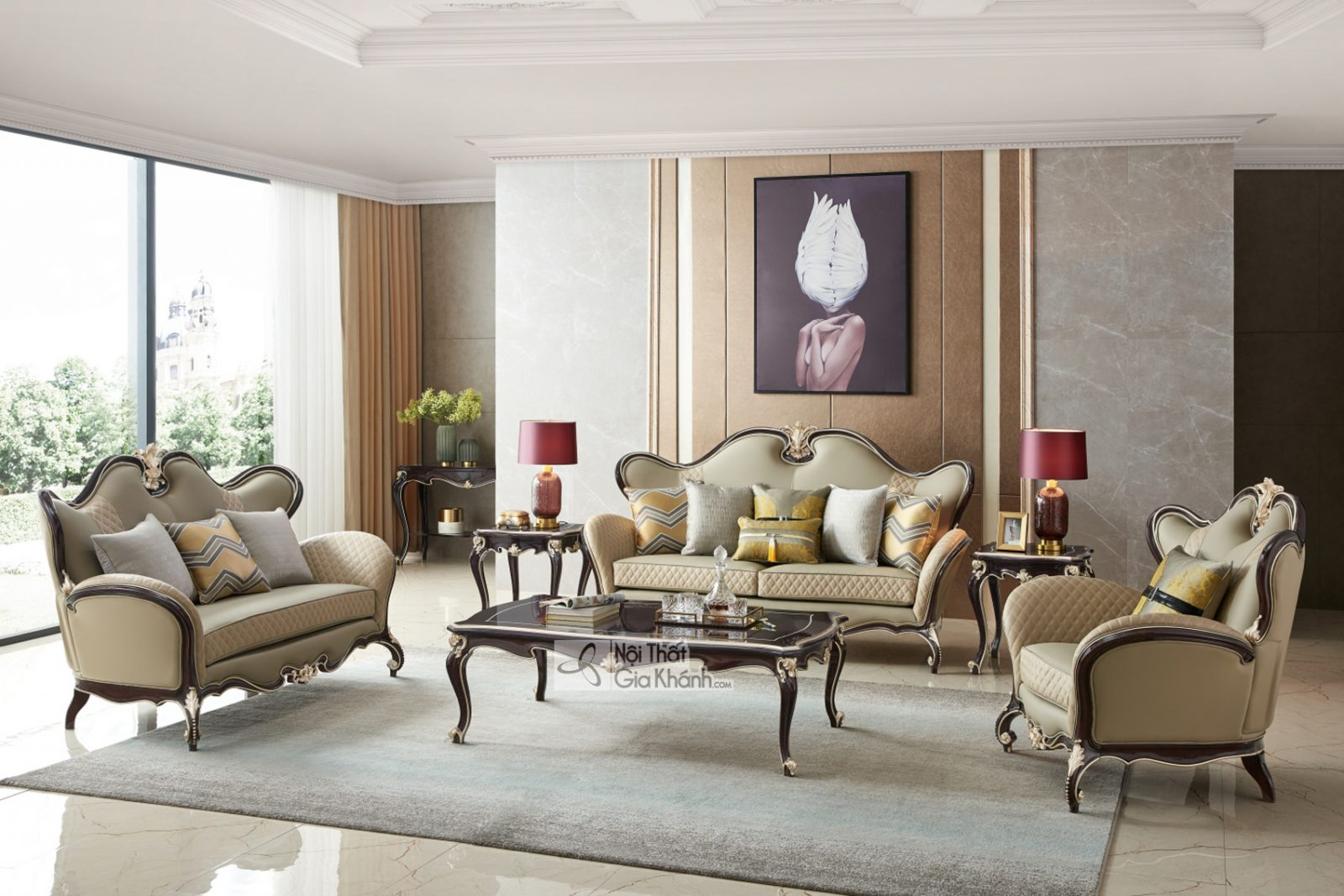 Bộ Sofa Tân Cổ Điển Luxury Sb9802H-1-2-4 Phong Cách Sang Trọng