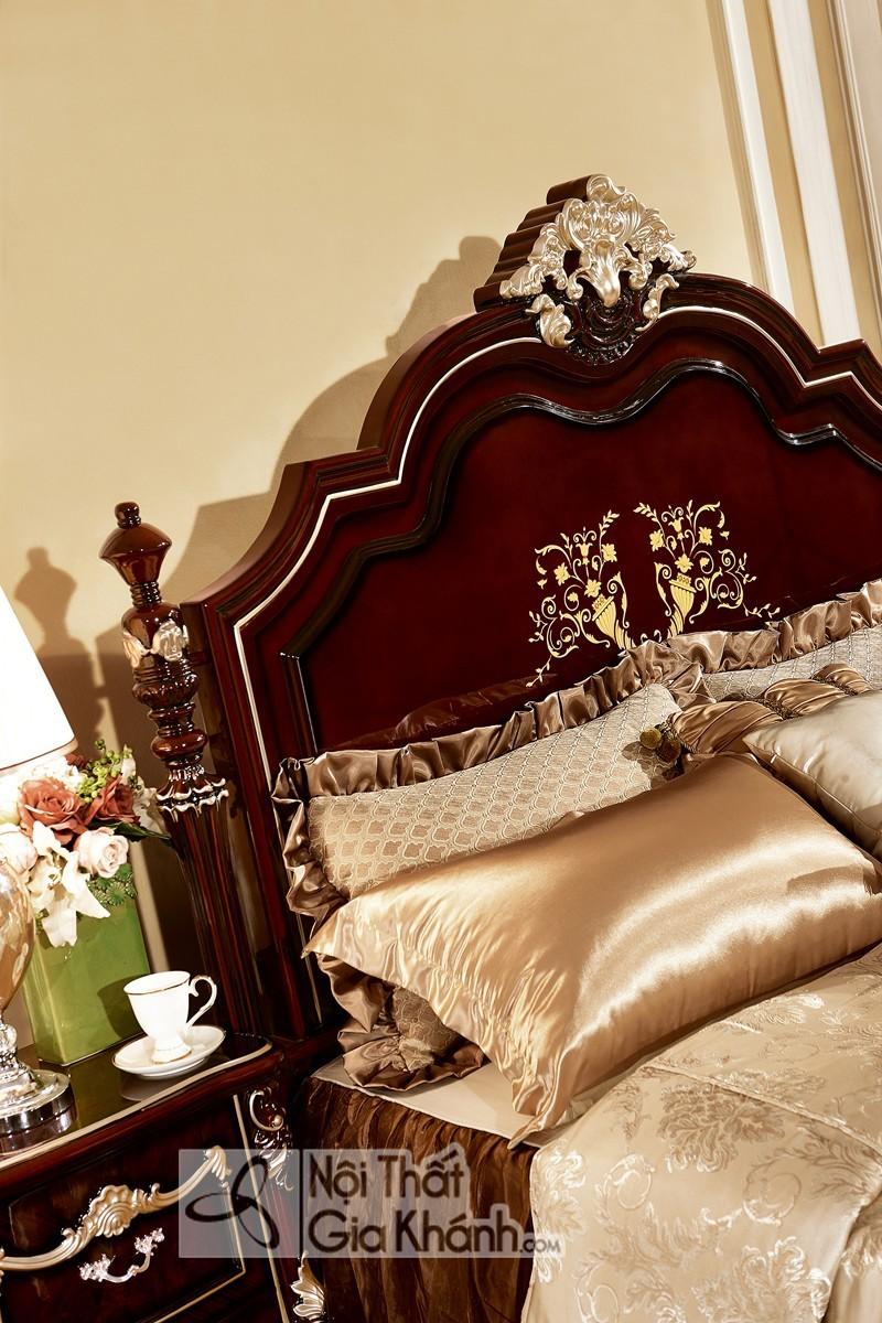 Giường Ngủ Tân Cổ Điển Màu Rượu Vang Nho Gi8833G Hoàng Gia Châu Âu