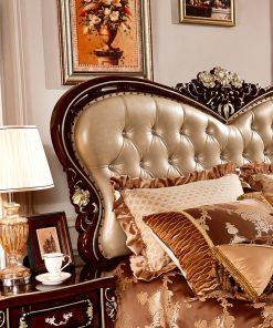 Giường ngủ Tân cổ điển màu rượu vang nho GI8836G phong cách Quý tộc