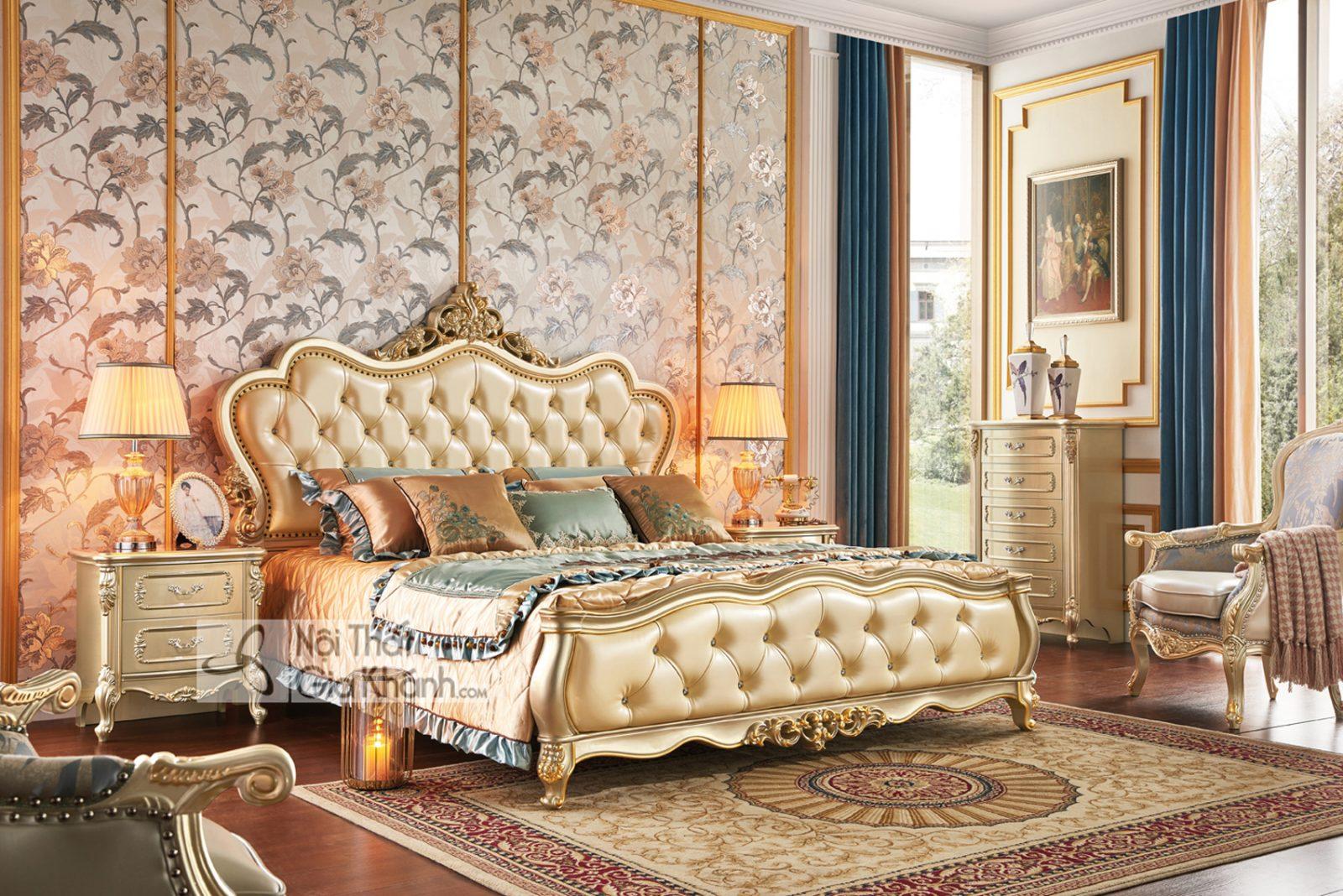 Giường Ngủ Tân Cổ Điển Màu Vàng Rượu Sampanh Gi8823A Đậm Chất Hoa Mỹ
