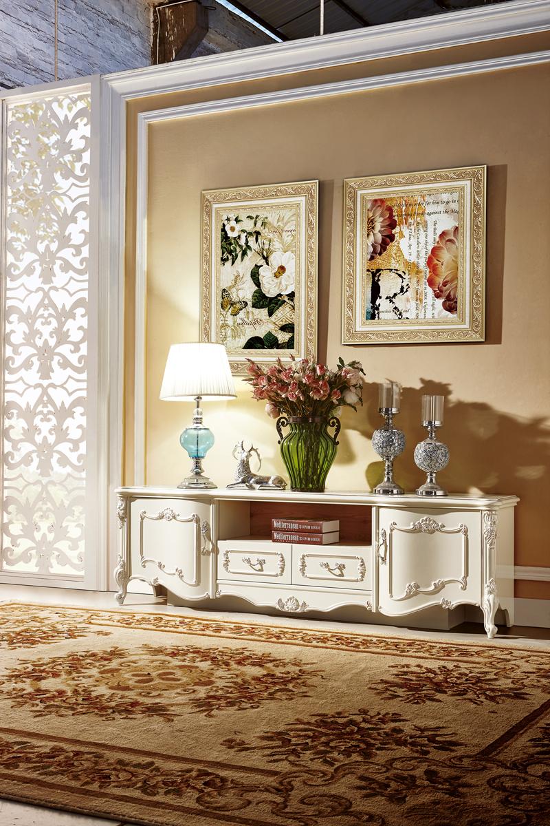 Kệ tivi 1m96 mặt gỗ Tân cổ điển màu trắng ngọc trai KT8801HD-20