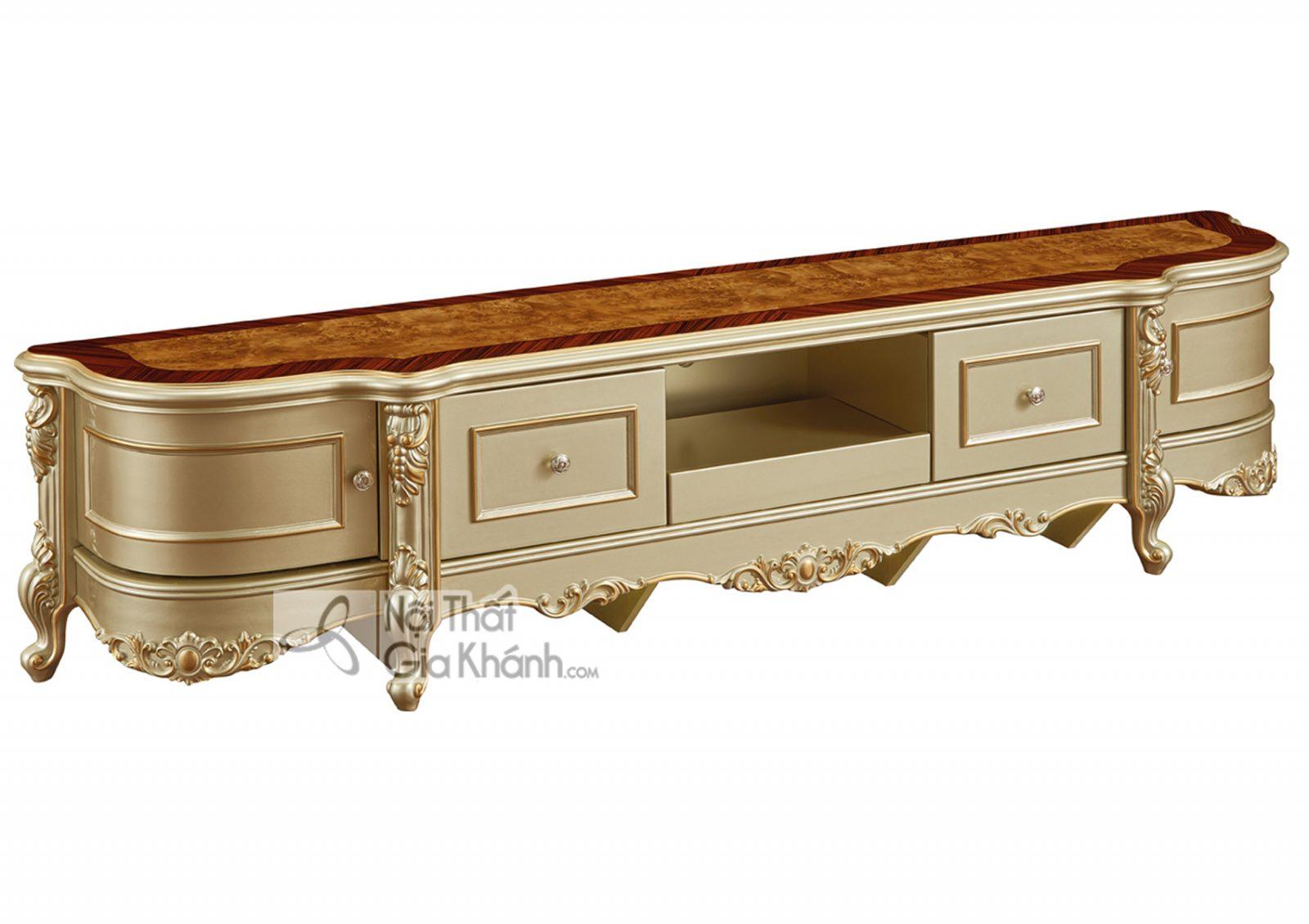 Kệ tivi mặt gỗ Tân cổ điển màu vàng rượu Sampanh KT8802AG-22