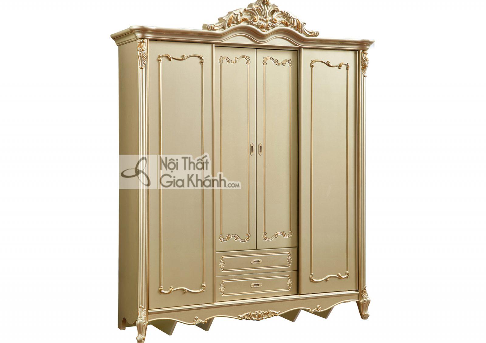 Tủ áo 2 cánh lùa + 2 cánh mở màu vàng rượu Sampanh TU8805A đậm chất hoa mỹ