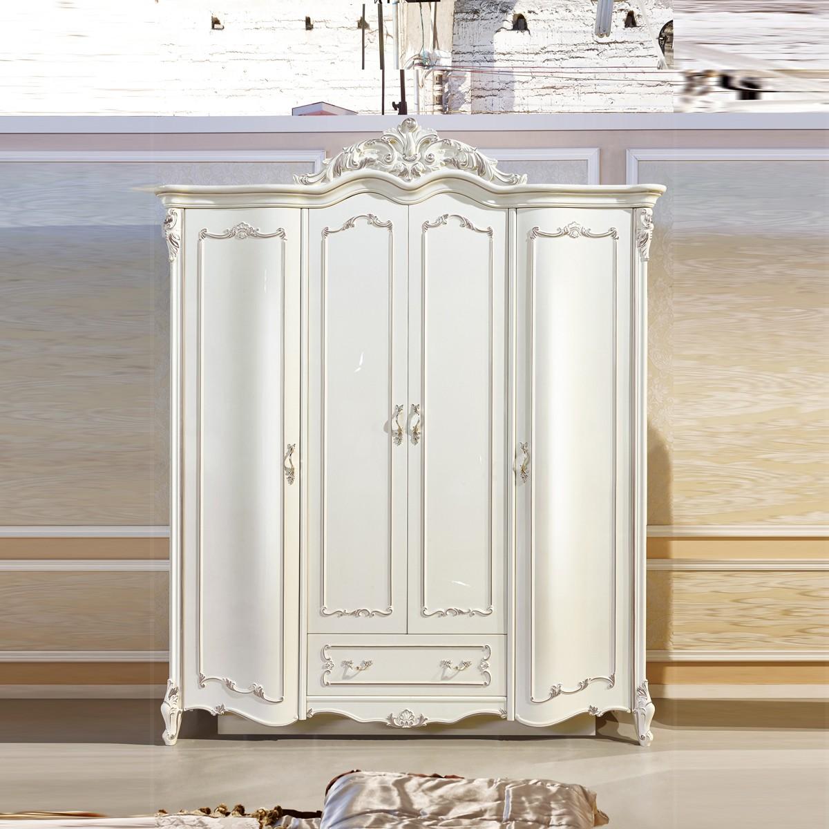 Tủ áo 4 cánh cong Tân cổ điển màu trắng ngọc trai TU8802H phong cách quí phái