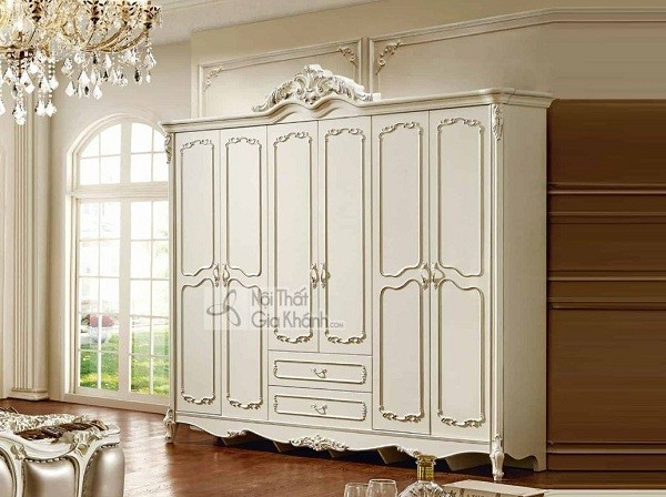 Tủ quần áo 2m2 màu trắng kem