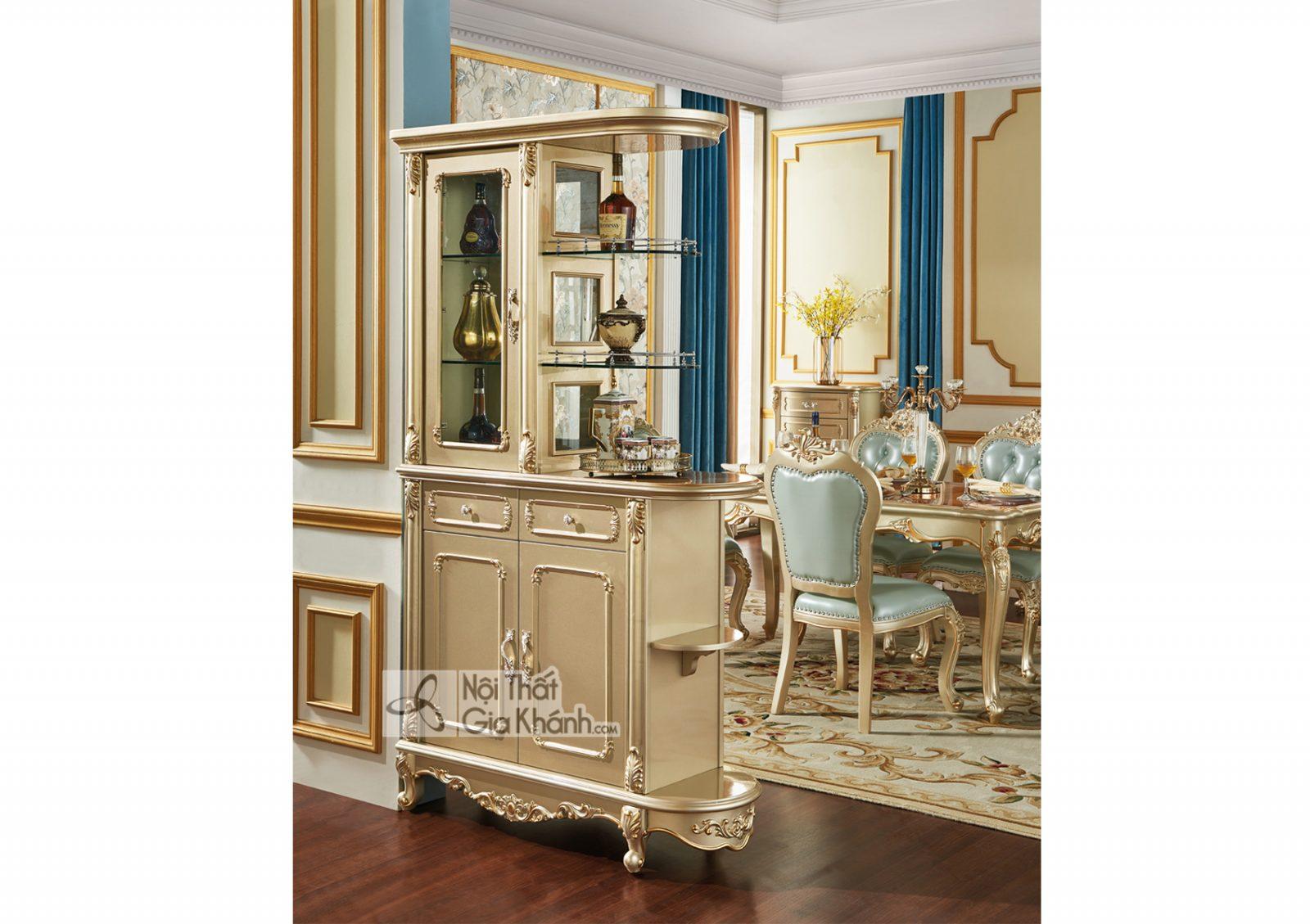 Tủ rượu 2 mặt Tân cổ điển màu vàng rượu Sampanh TR8801A-2 sang trọng hoàn mỹ