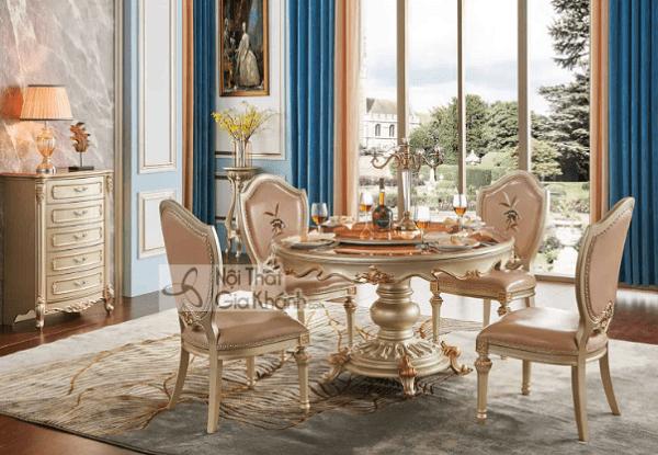 nội thất màu vàng đồng bàn ăn