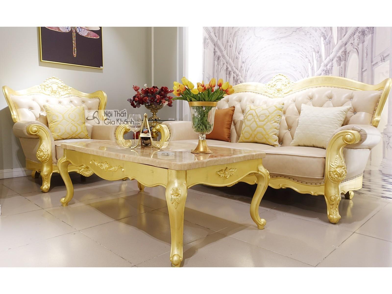 Bộ Sofa Tân Cổ Điển Dát Vàng 1+3 + Bàn Trà Sbgk02