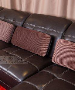 Sofa Da 3 Băng Góc Chữ L Trái Nâu Cafe 6802Sf