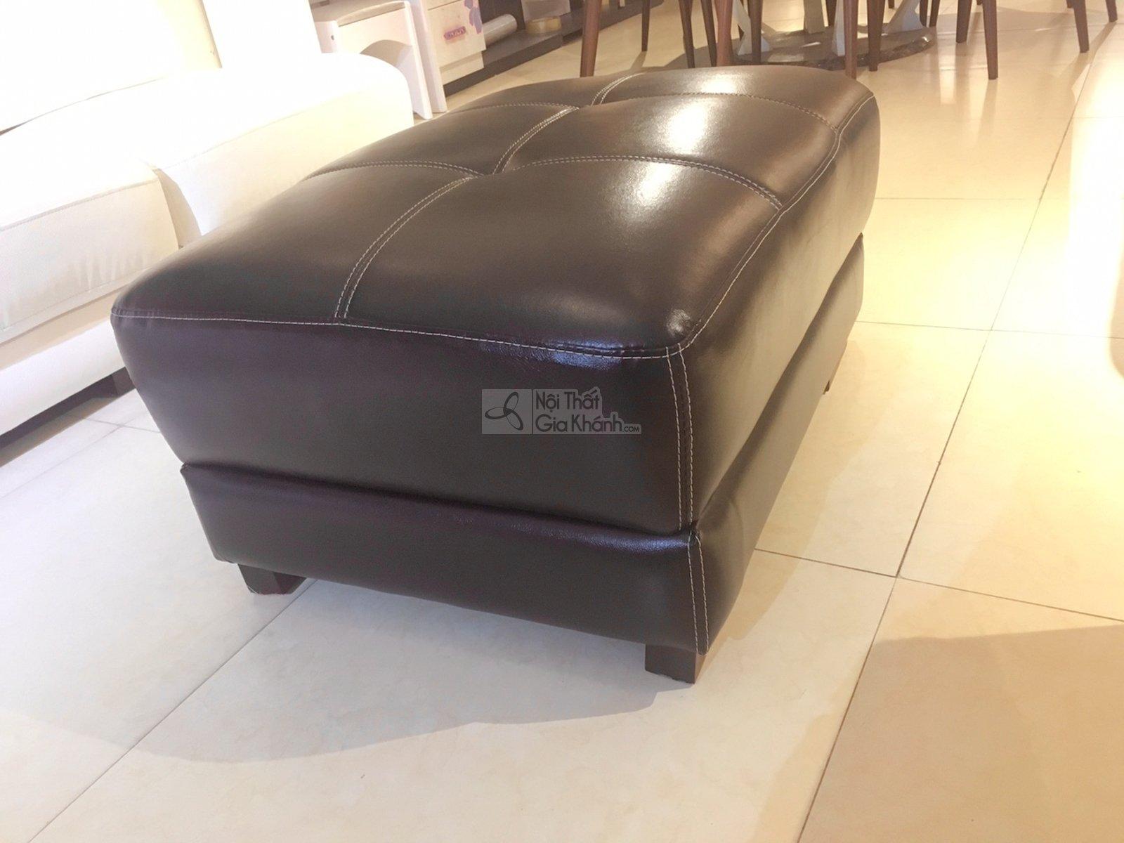 Đôn sofa da bóng màu nâu café cho phòng khách 9029DSF sang trọng