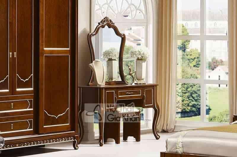 69983C Ban phan - Bộ phòng ngủ tân cổ điển gỗ Đỏ màu nâu cao cấp 29980BG