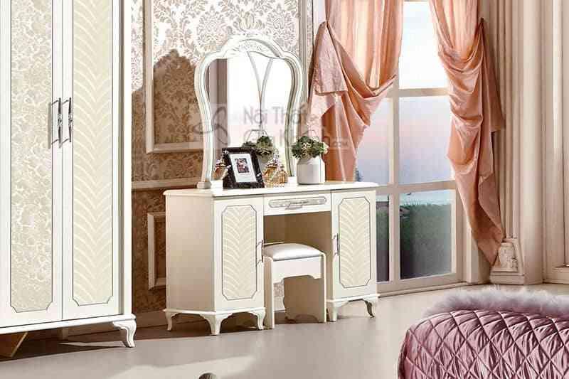 Bộ phòng ngủ tân cổ điển bọc da phong cách Hoàng gia Pháp 83663BG